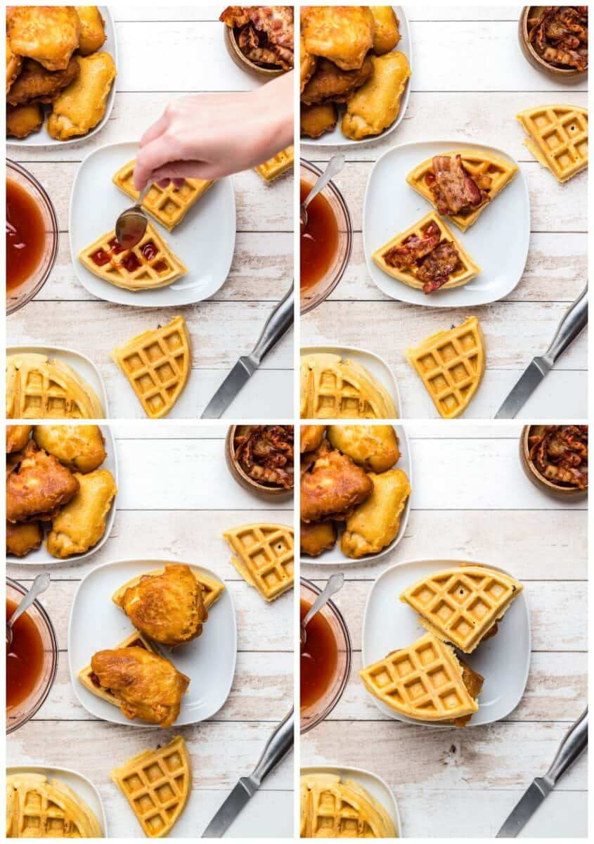 step by step photos of making chicken and waffle sliders
