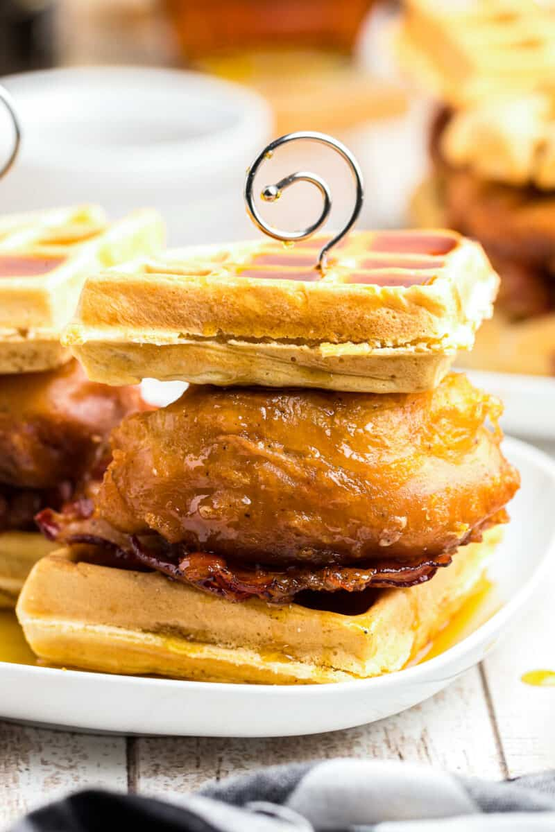 up close chicken and waffle sliders with bacon