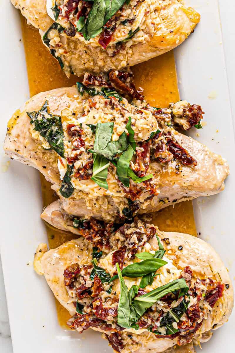 chicken bryan on cutting board