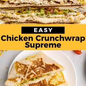 chicken crunchwrap supreme pinterest collage