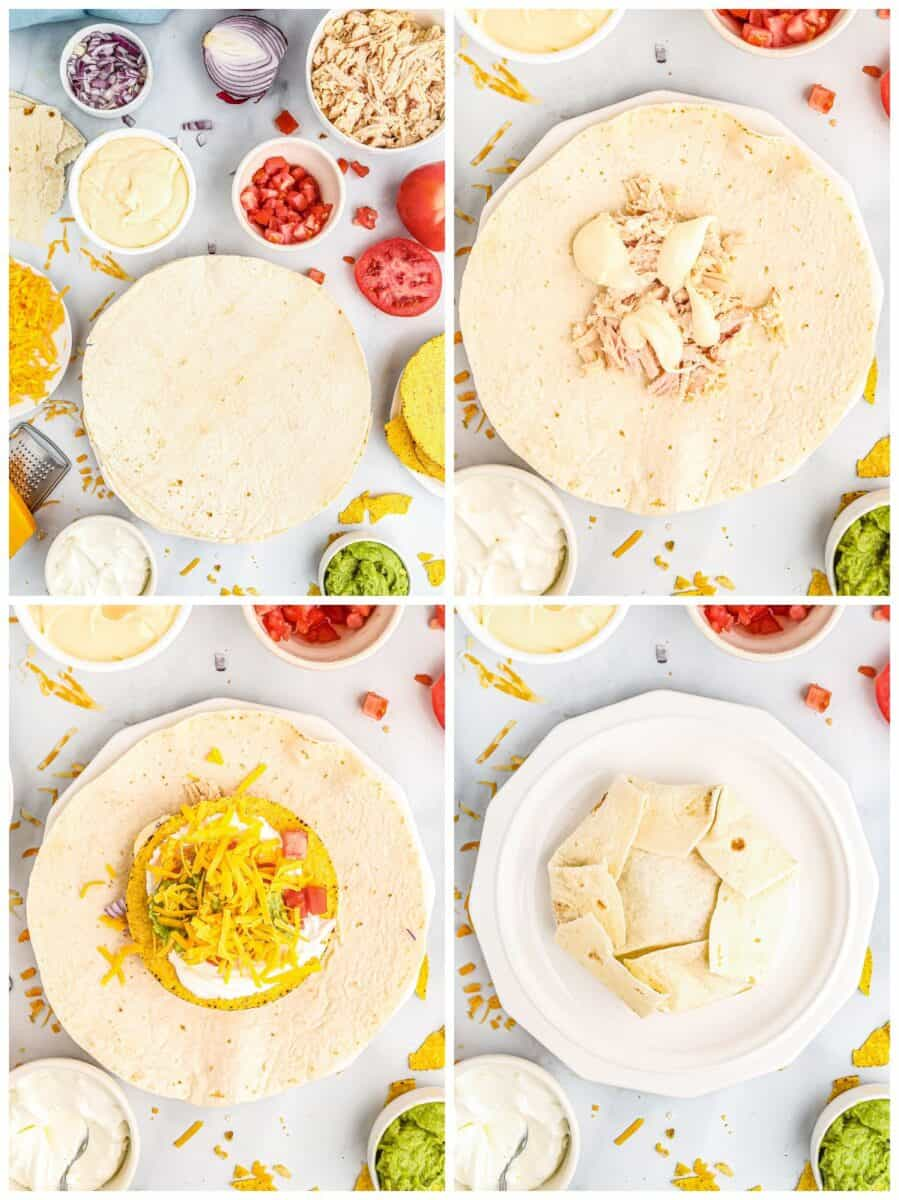 step by step photos for how to make chicken crunchwrap supremes