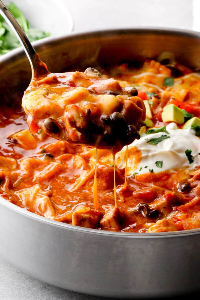 cheesy chicken enchilada skillet in pan