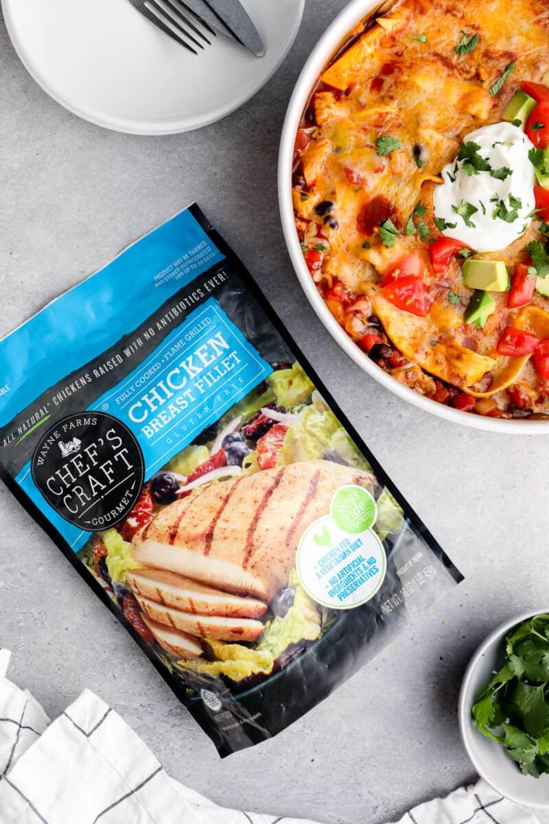 chicken enchilada skillet next to chef's craft chicken bag