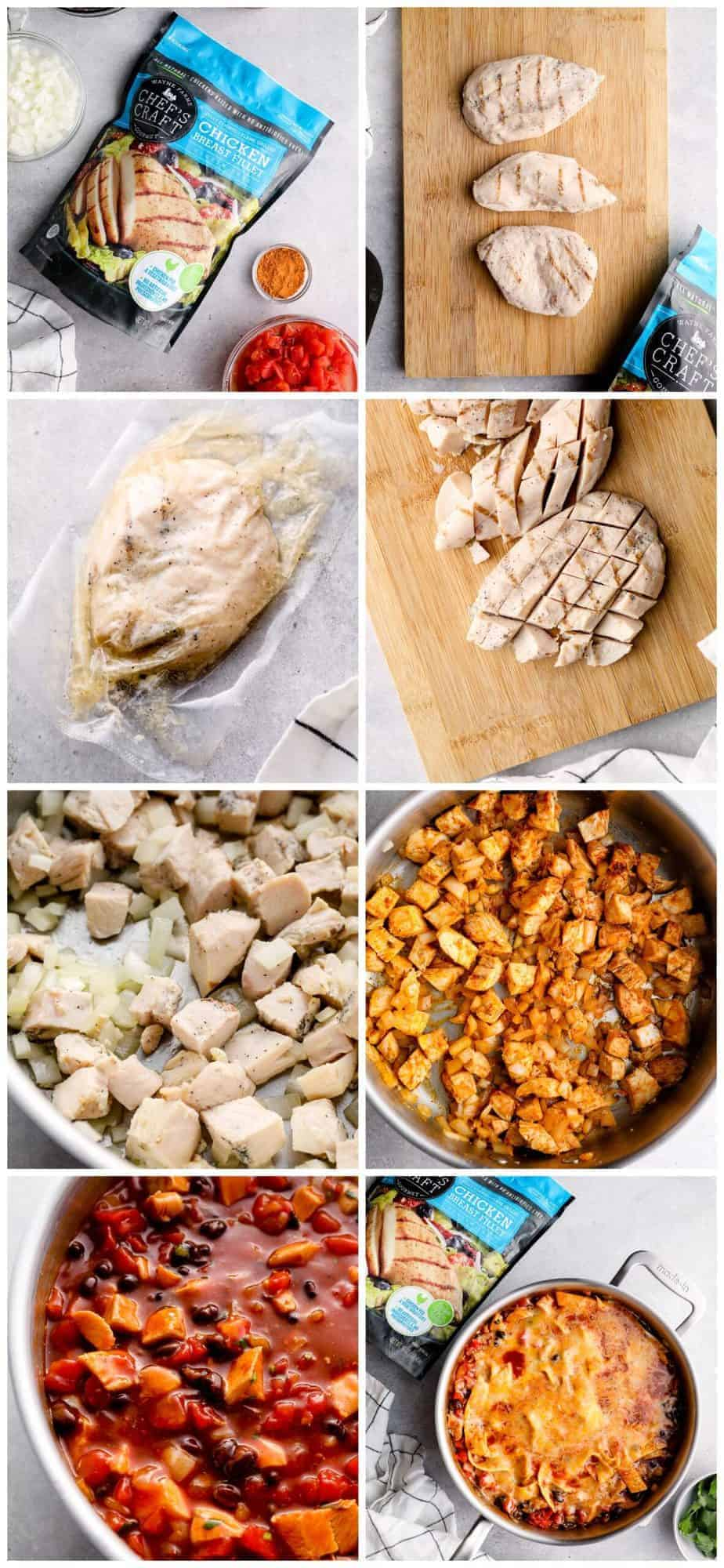 step by step photos for how to make chicken enchilada skillet