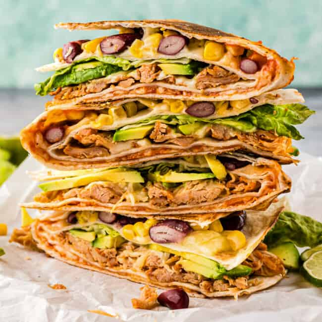 stacked chicken foldover quesadilla