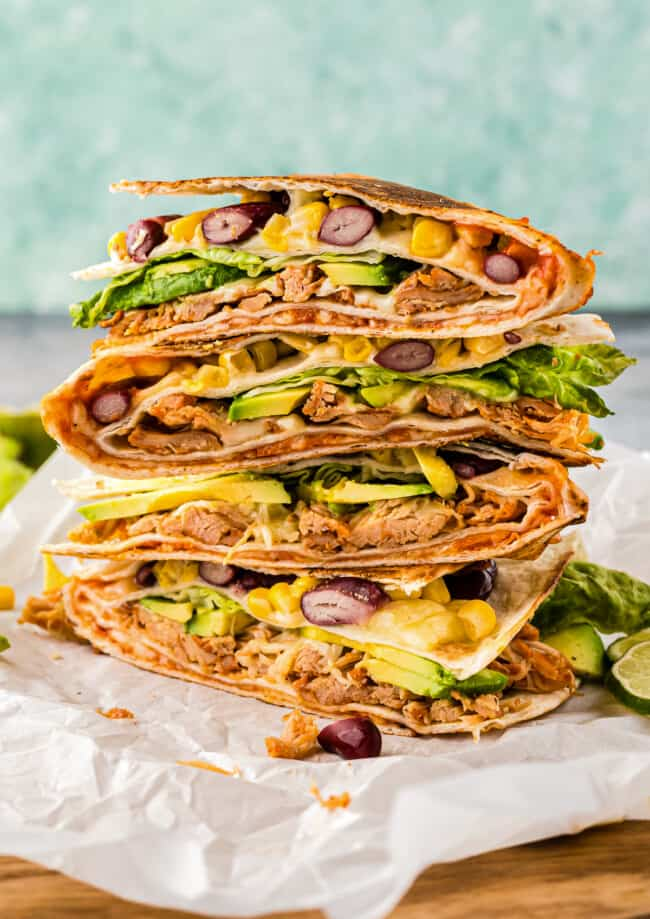 stacked chicken foldover quesadilla