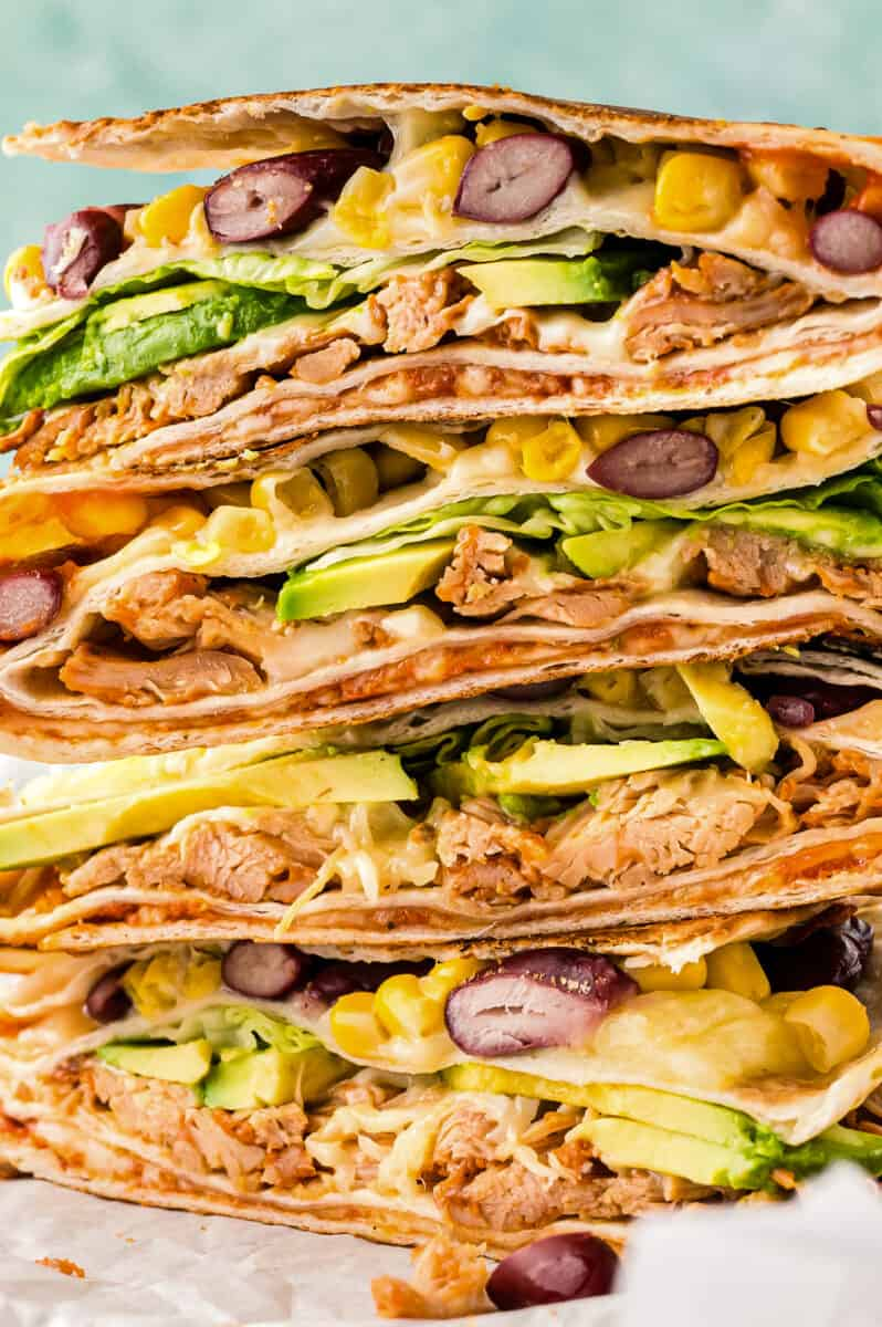 up close stacked chicken foldover quesadilla