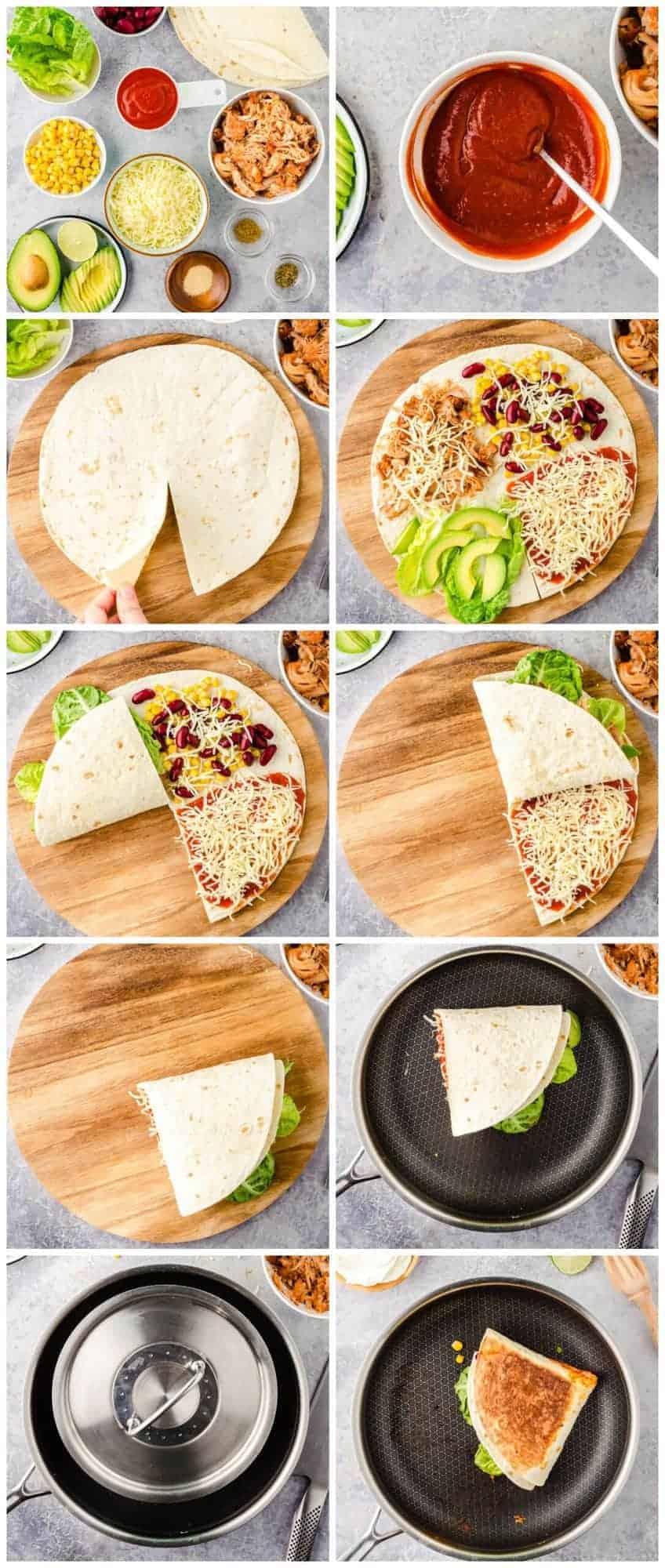step by step photos for how to make foldover quesadillas