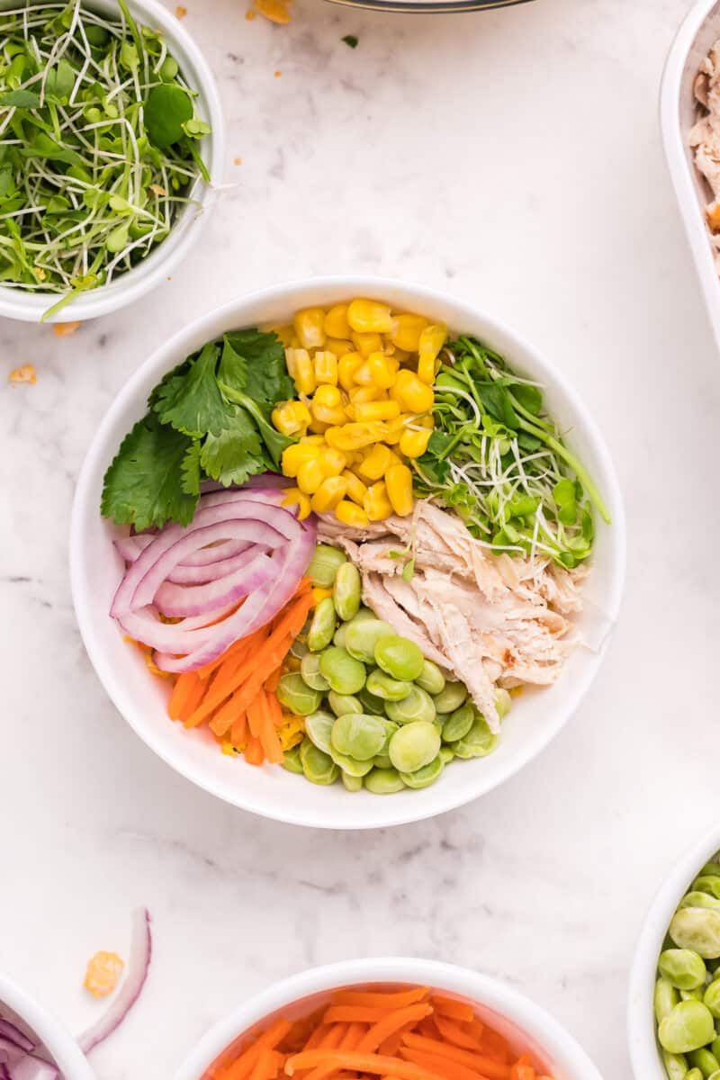 ingredients for chicken poke bowl