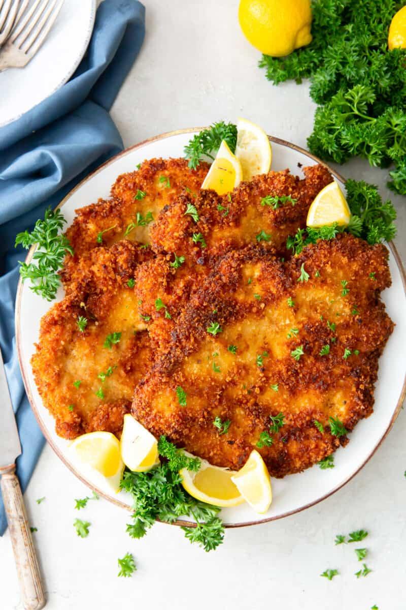platter of chicken schnitzel