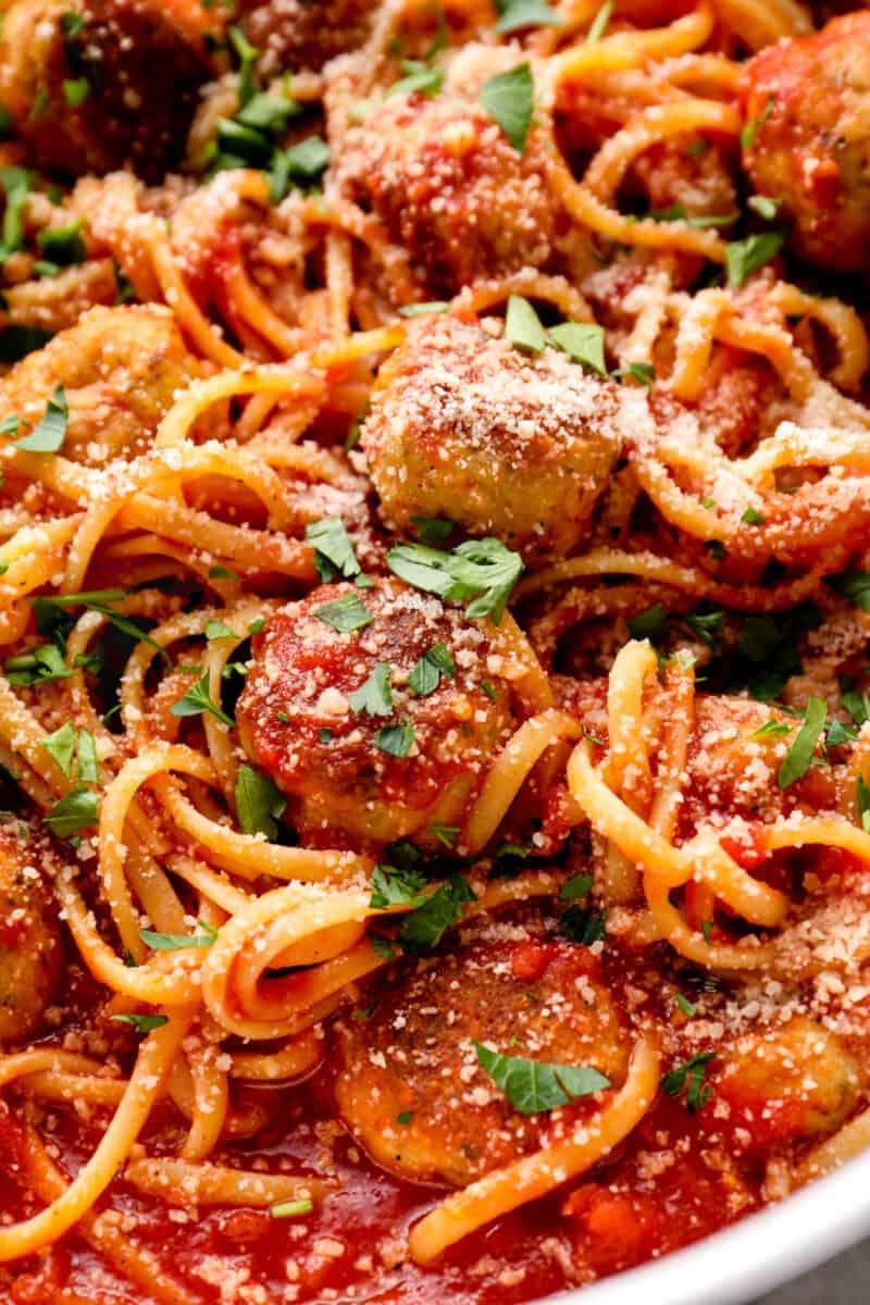 up close chicken spaghetti and meatballs