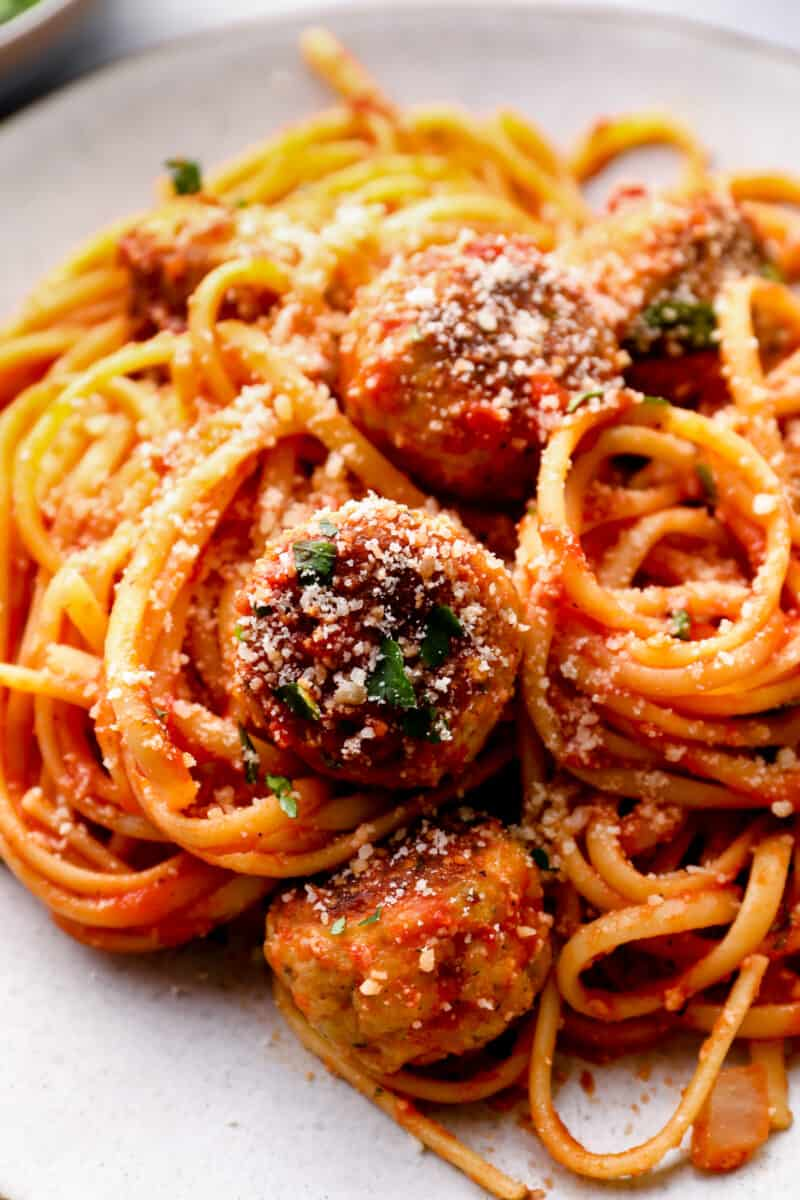 up close spaghetti with chicken meatballs