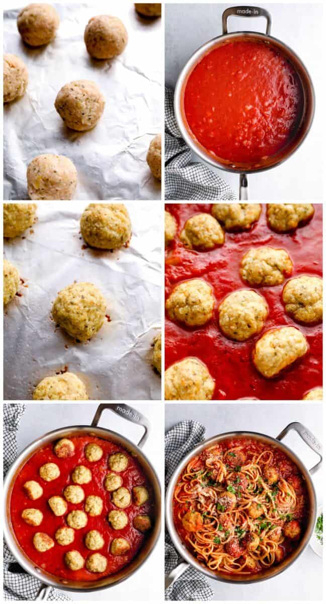 step by step photos for how to make chicken spaghetti and meatballs