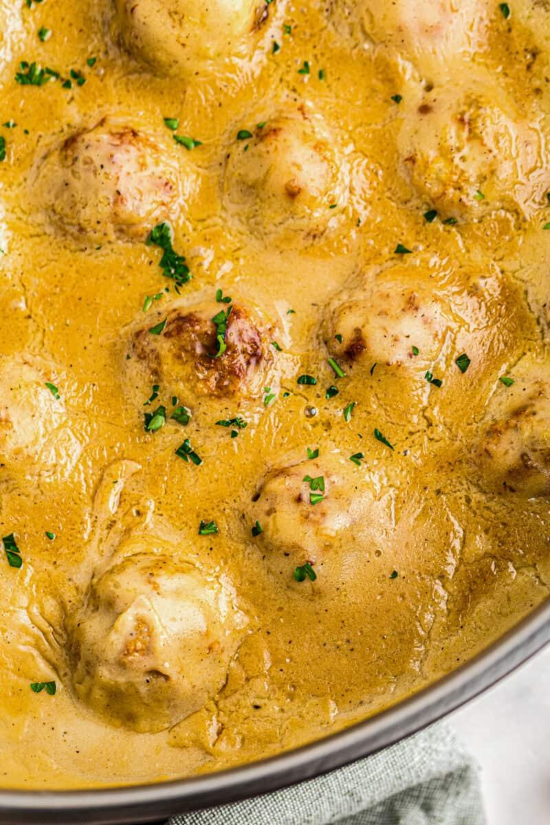 chicken swedish meatballs in skillet