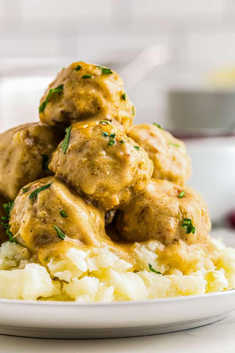 chicken swedish meatballs over mashed potatoes
