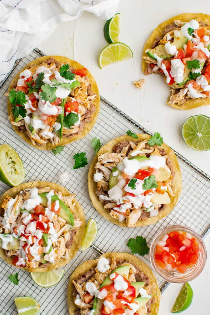 overhead image of chicken tostadas on cooking rack