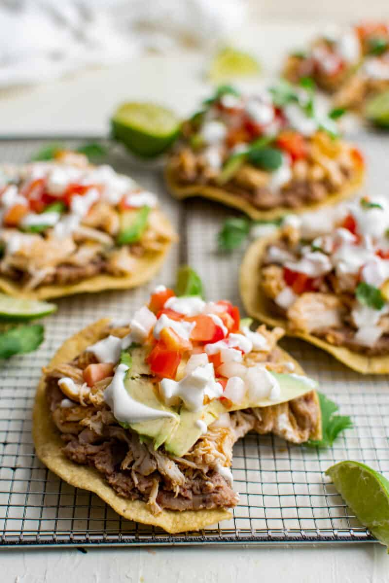 bite out of chicken tostada