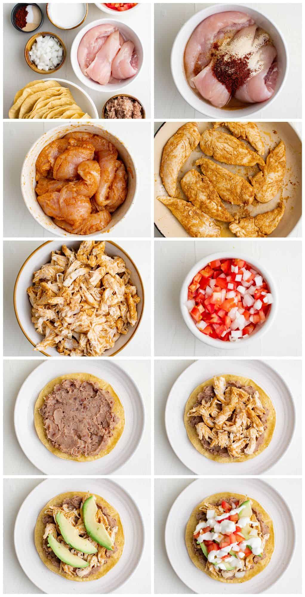 step by step photos of how to make chicken tostadas