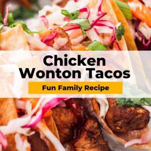 chicken wonton tacos pinterest collage