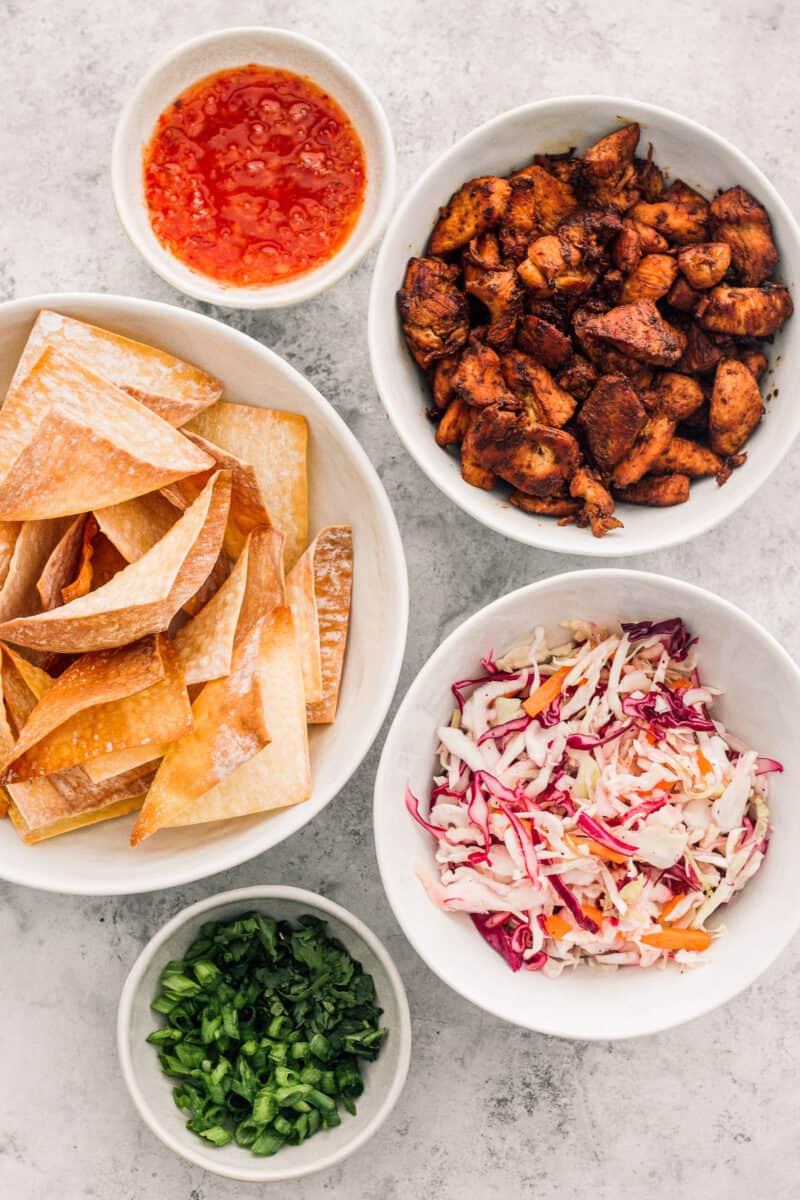 ingredients for chicken wonton tacos