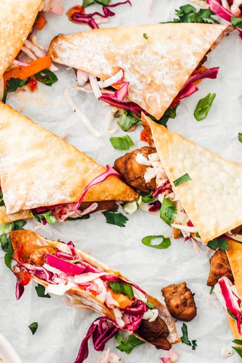 chicken wonton tacos on parchment