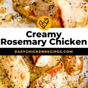 creamy rosemary chicken pinterest collage