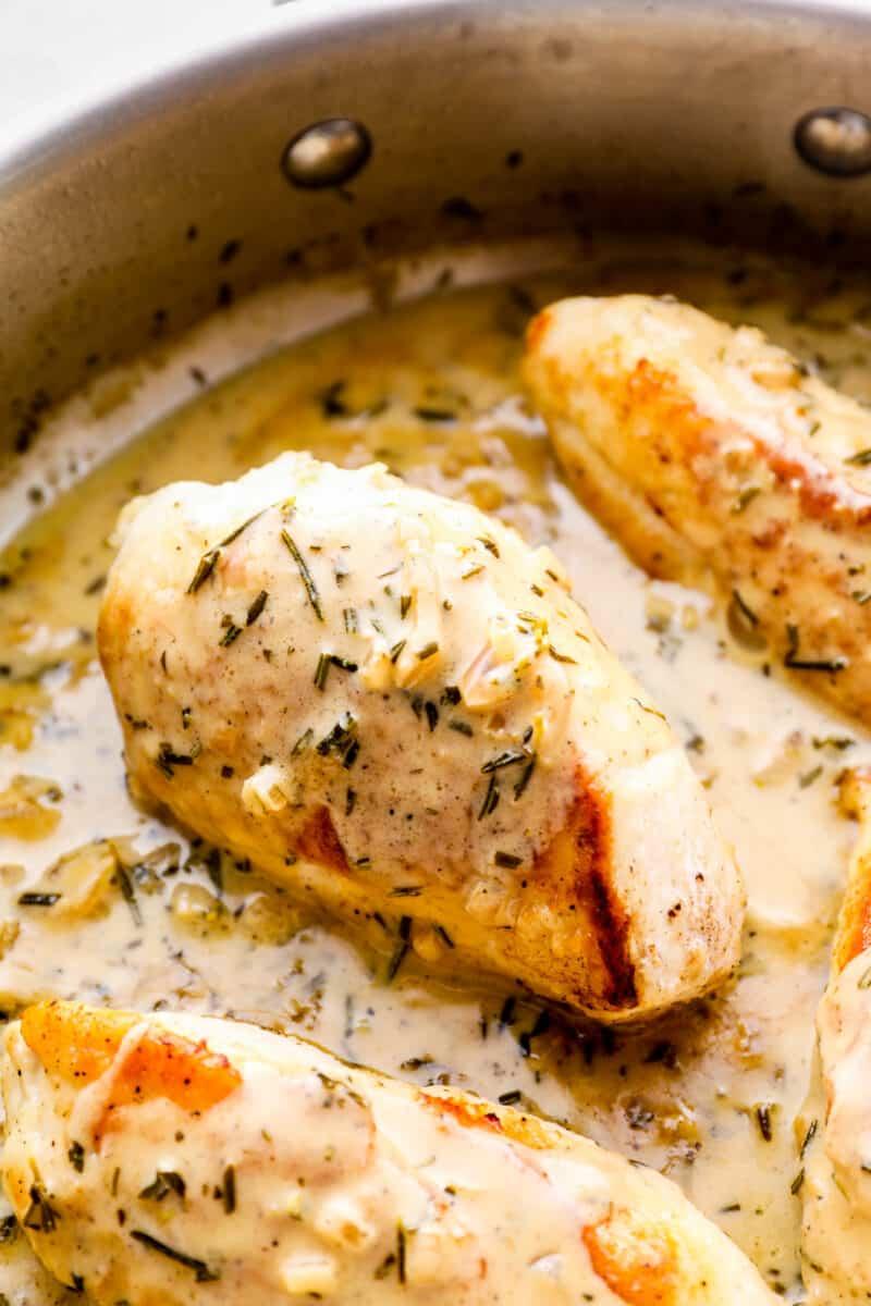 side shot of creamy rosemary chicken