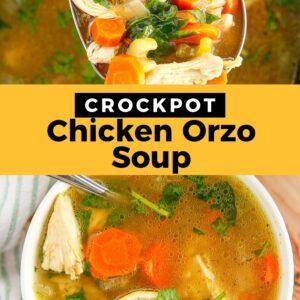 crockpot chicken lemon orzo soup pinterest collage