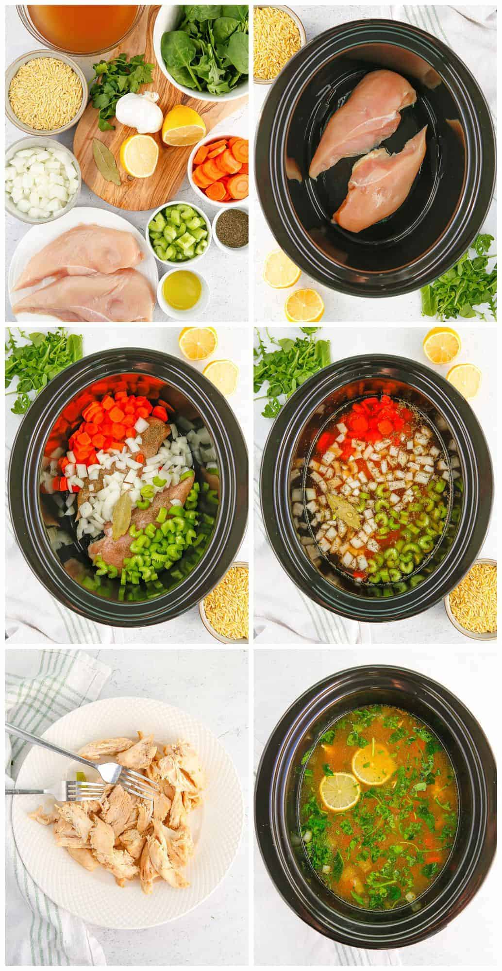 step by step photos for how to make crockpot lemon chicken orzo soup