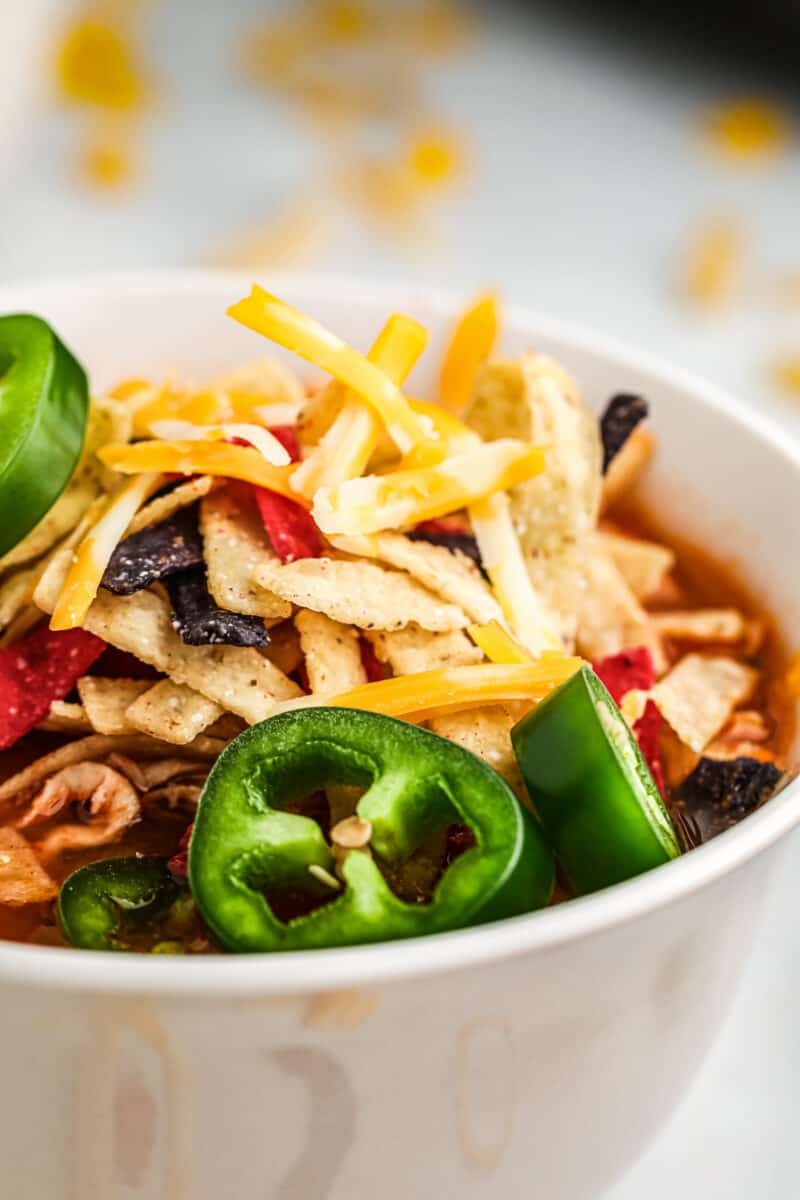up close side image of chicken tortilla soup