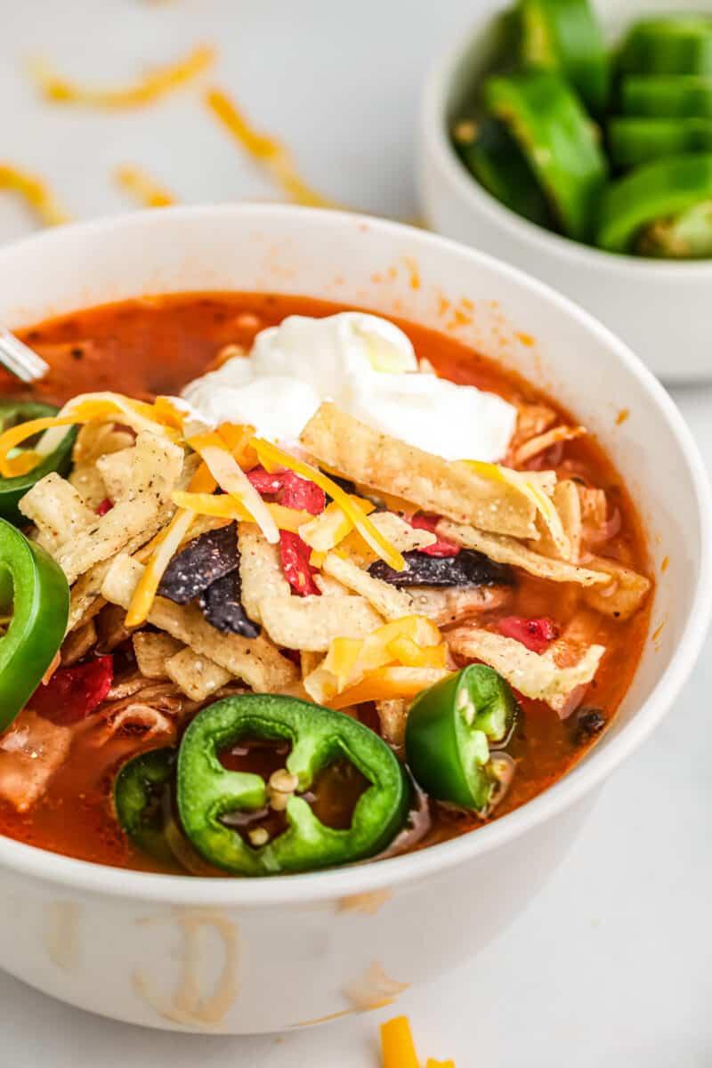 white bowl of chicken tortilla soup