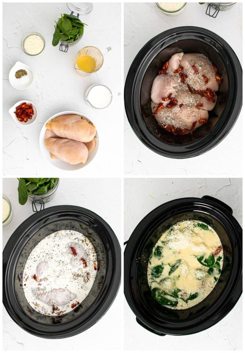 step by step photos of how to make crockpot tuscan chicken