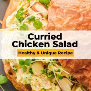 curried chicken salad pinterest collage