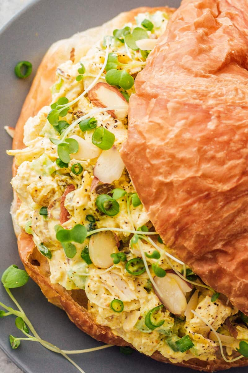 up close curried chicken salad sandwiches on croissants