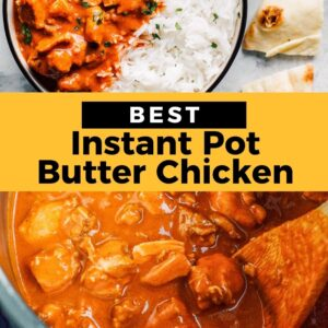 instant pot butter chicken pinterest collage