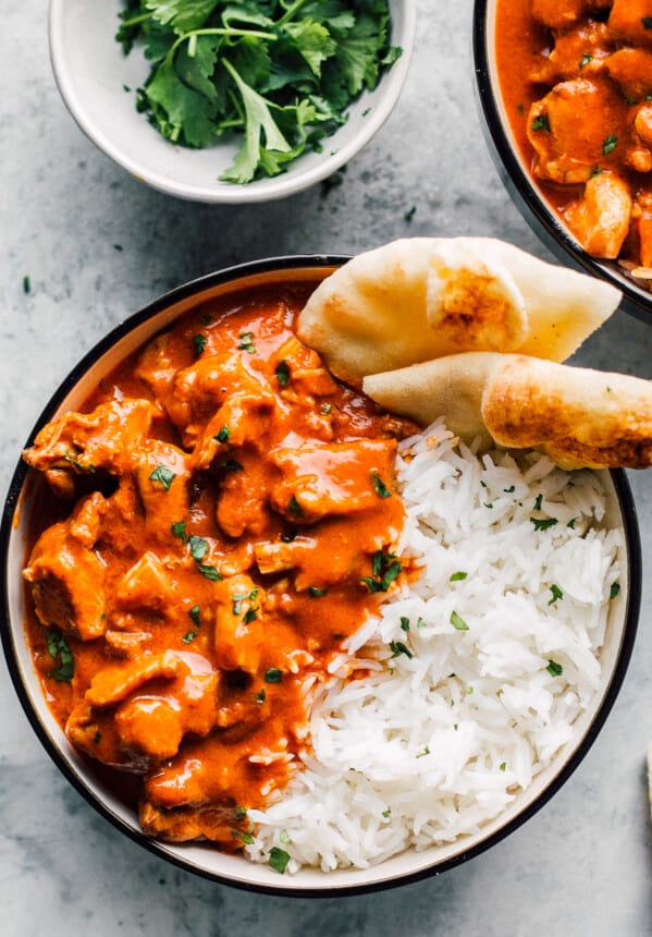 instant pot butter chicken with rice and naan