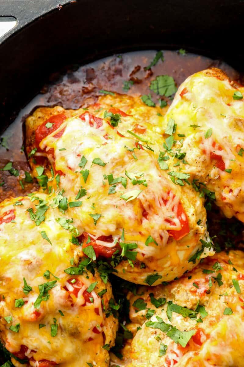 taco stuffed chicken in skillet