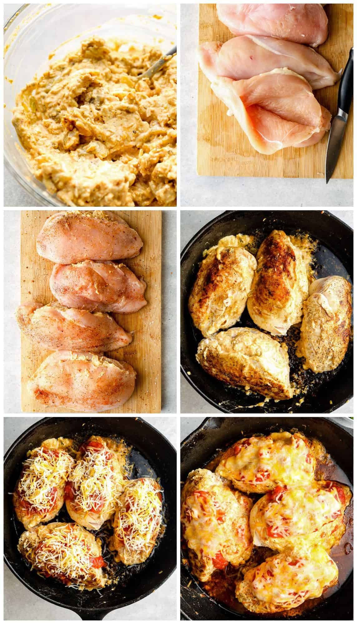 step by step photos of making taco stuffed chicken