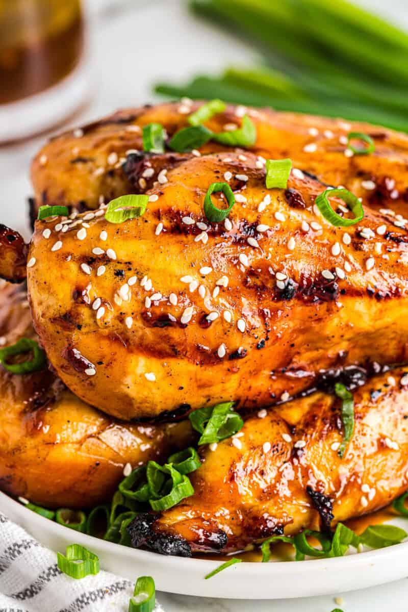 grilled chicken teriyaki breasts with teriyaki marinade