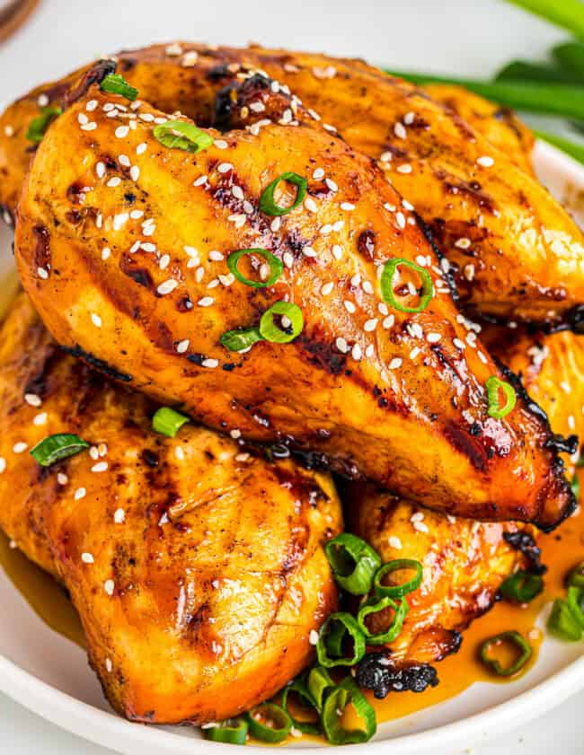 up close chicken with chicken teriyaki marinade