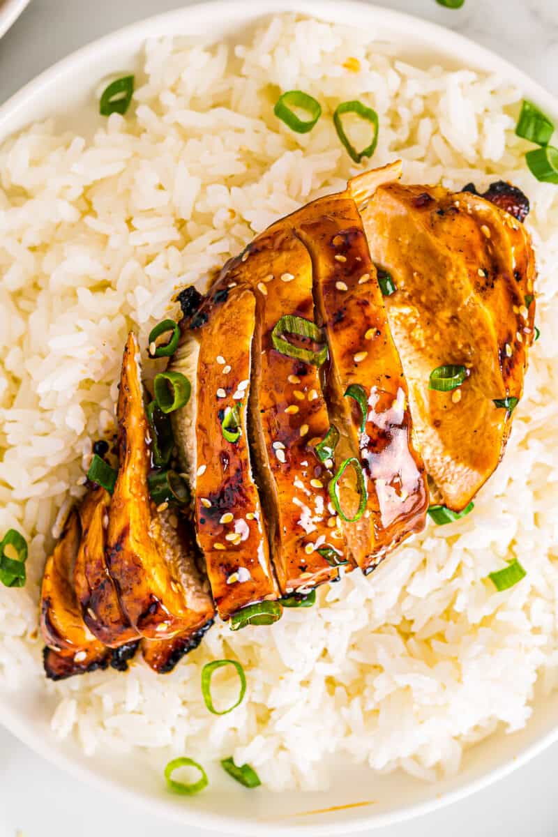 up close grilled chicken teriyaki on plate