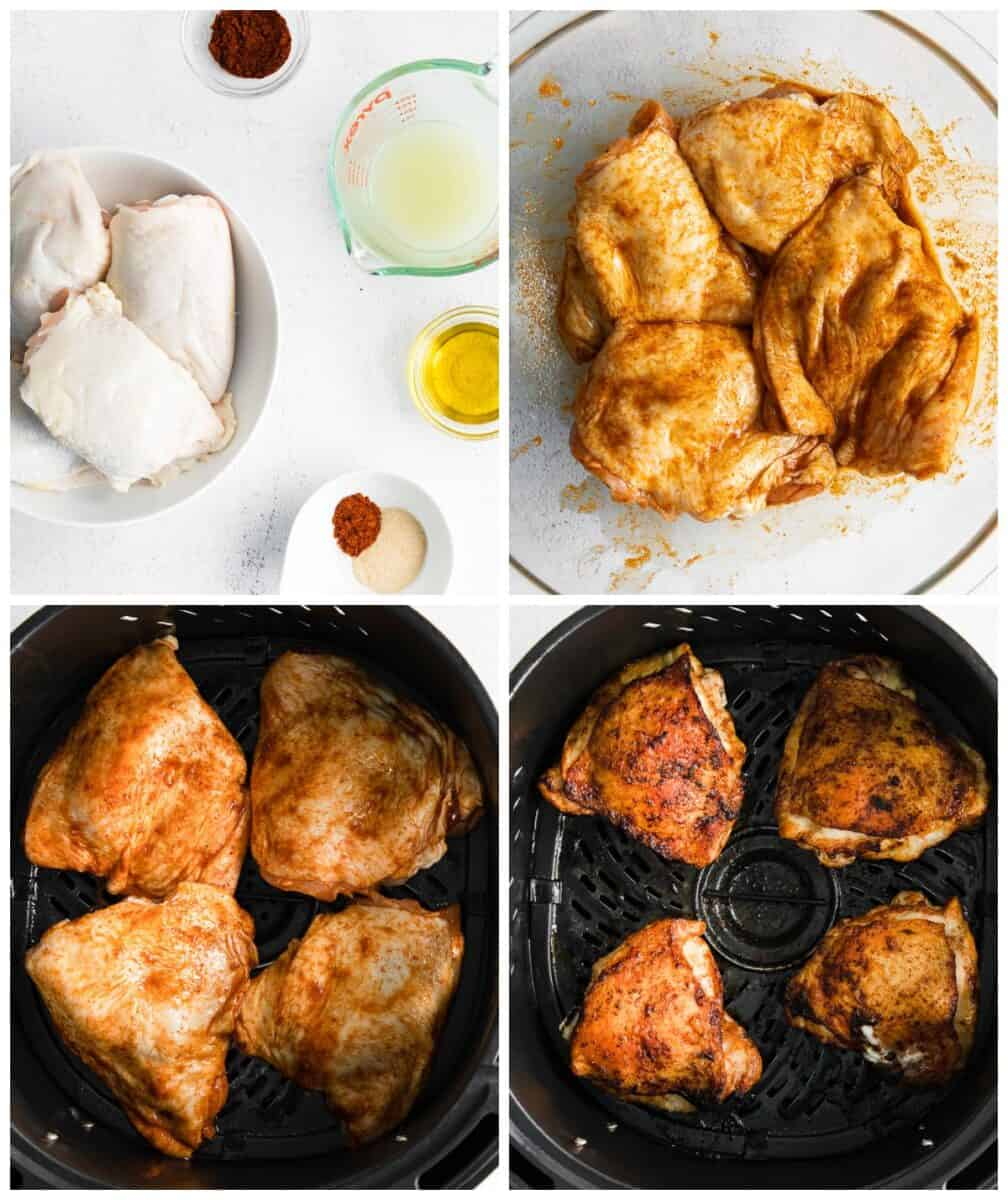 step by step photos for how to make air fryer chili lime chicken