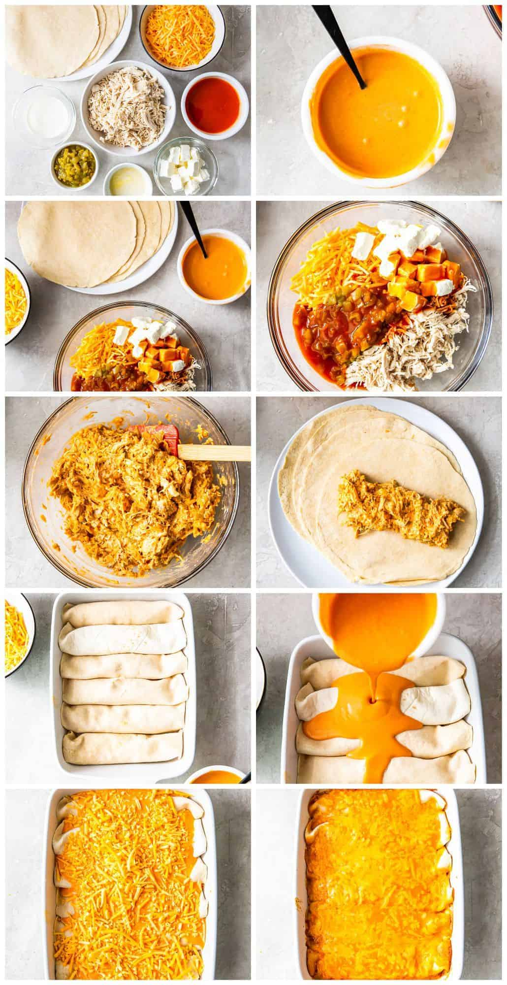 step by step photos for how to make buffalo chicken enchiladas