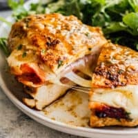 featured ham and cheese stuffed chicken