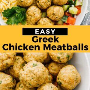 Greek chicken meatballs pinterest collage