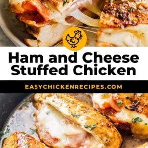 ham and cheese stuffed chicken pinterest collage