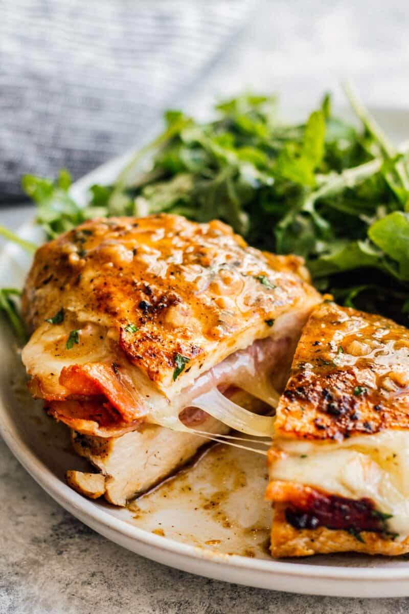 inside of ham and cheese stuffed chicken