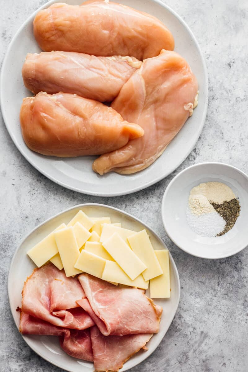 ingredients for making ham and cheese stuffed chicken
