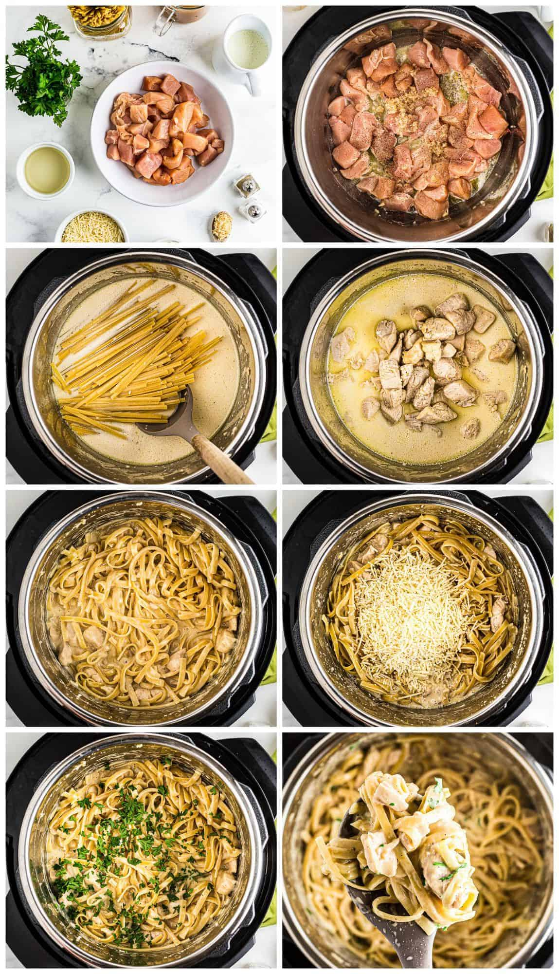 step by step photos for how to make instant pot chicken alfredo