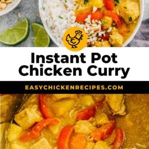 instant pot chicken curry pinterest collage